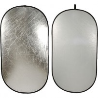 Impact Collapsible Oval Reflector Disc - Silver/White - 41x74