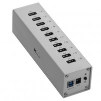 Xcellon 10-Port Powered USB 3.0 Aluminum Hub (Silver)