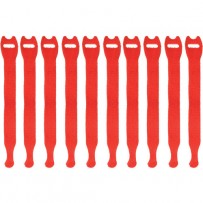 Pearstone 0.5 x 8 Touch Fastener Straps (Red, 10-Pack)