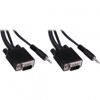 Pearstone 100' Standard VGA Male to Male Cable with 3.5mm Stereo Audio