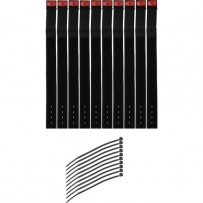 Pearstone 1 x 14 Touch Fastener Cable Straps (Black, 10-Pack)