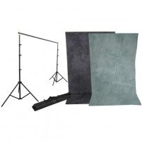 Impact Background Kit with 10 x 12' Dawn/DeepSea Blue Reversible Muslin Backdrop