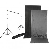 Impact Background Kit with 10 x 24' Charcoal/Smoke Gray Reversible Muslin Backdrop