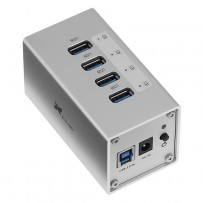 Xcellon 4-Port Powered USB 3.0 Aluminum Hub (Silver)