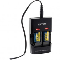 Watson Dual Rapid Charger for 3.7V CR123A and CR2 Lithium Batteries with 2 CR2 Batteries
