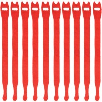 Pearstone 0.5 x 12 Touch Fastener Straps (Red, 10-Pack)