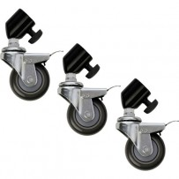 Impact Locking Caster Set for Light Stands with 25mm Tubular Leg Ends (3)