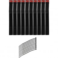 Pearstone 1 x 9 Touch Fastener Cable Straps (Black, 10-Pack)