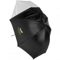 Impact Convertible Umbrella - White Satin with Removable Black Backing - 30