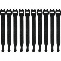 Pearstone 0.5 x 8 Touch Fastener Straps (Black, 10-Pack)