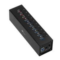 Xcellon 10-Port Powered USB 3.0 Aluminum Hub with 3 Dedicated USB Charging Ports (Black)