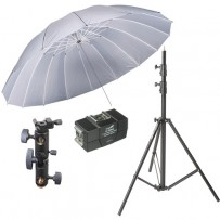 Impact 7' Parabolic Umbrella (White Diffusion) With Light Stand Kit