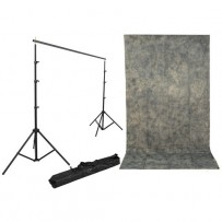 Impact Background Kit with 10 x 12' with Gray Mist Crushed Muslin Backdrop
