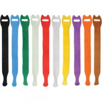 Pearstone 0.5 x 8 Touch Fastener Straps (Multi-Colored, 10-Pack)