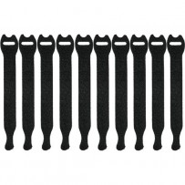 Pearstone 1 x 10 Touch Fastener Straps (Black, 10-Pack)