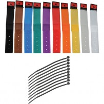 Pearstone 1 x 6 Touch Fastener Cable Straps (Multi-Colored, 10-Pack)