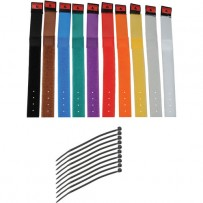 Pearstone 1 x 9 Touch Fastener Cable Straps (Multi-Colored, 10-Pack)