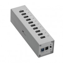 Xcellon 10-Port Powered USB 3.0 Aluminum Hub with 3 Dedicated USB Charging Ports (Silver)