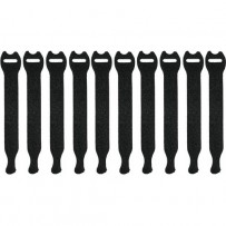 Pearstone 0.5 x 6 Touch Fastener Straps (Black, 10-Pack)