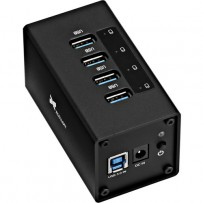 Xcellon 4-Port Powered USB 3.0 Aluminum Hub (Black)