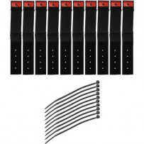 Pearstone 1 x 6 Touch Fastener Cable Straps (Black, 10-Pack)